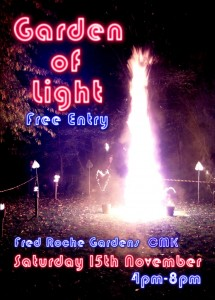 flyer for Inter-Action MK's Garden Of Light event